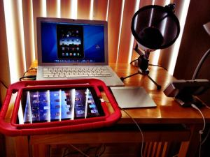 My setup for webinar presented at Mobile Learning Summit: Macbook, iPad and Blue Microphone.