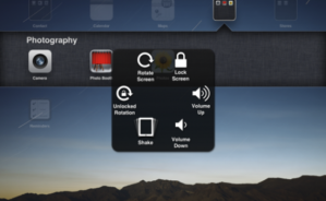 Overlay menu for assistive touch.