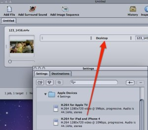 Drag H.264 for IPad and iPhone setting into the Batch window