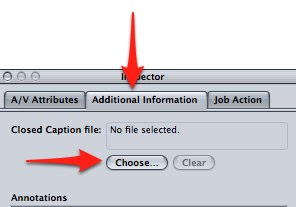 Select Choose from the Additional Information tab in the Inspector