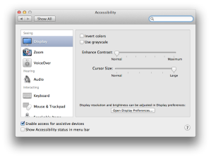 Large Cursor Setting in Accessibility, Display in Mountain Lion
