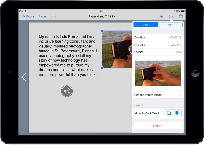 Changing the video format in Book Creator