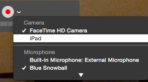 iPad selected as camera source in QuickTime Player.