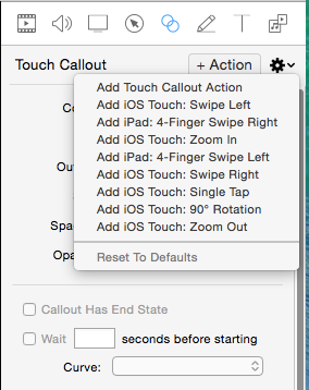 Touch callouts menu in Screenflow.