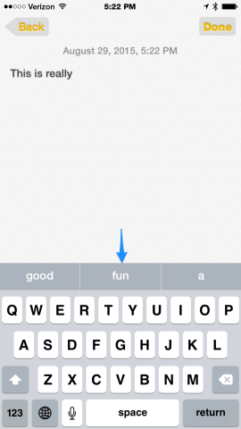 QuickType bar in iOS onscreen keyboard