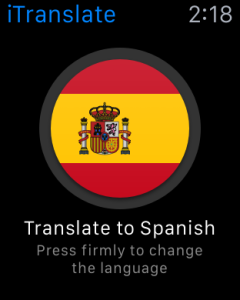 iTranslate app ready to translate to Spanish