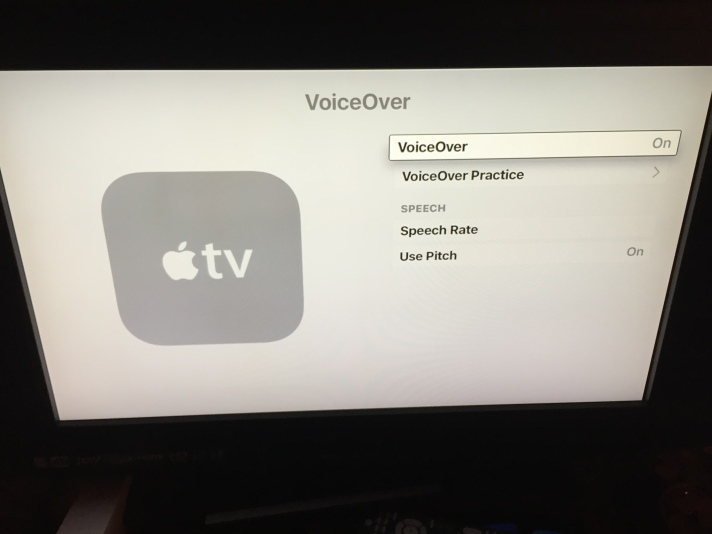 VoiceOver practice is available once VoiceOver is turned on.