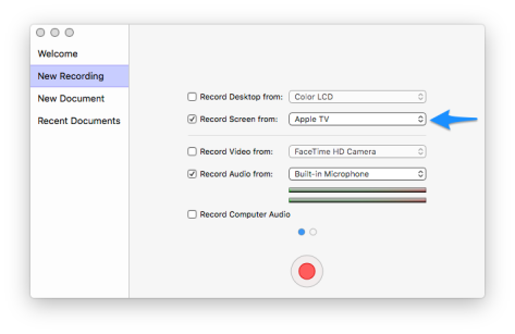 Apple TV selected as source in Screenflow Configure Recording window.