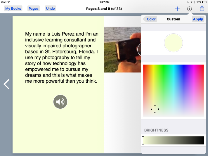 Custom color picker in Book Creator with light yellow color selected.
