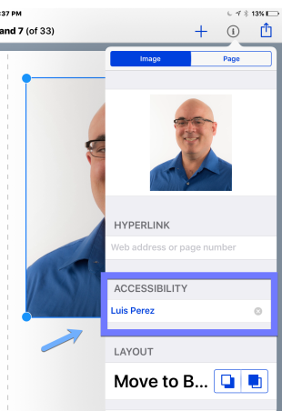 Accessibility field in the Book Creator Inspector.