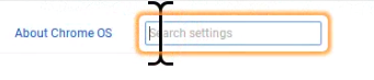 Chrome's Search settings text field with yellow border around it to indicate it has focus.