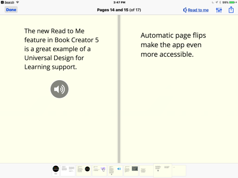 Read to Me Screen in Book Creator